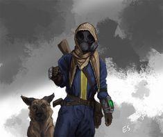 Vault Dweller and Dogmeat, Emmett Shatley Fallout Concept Art, Fallout Art, Fallout New Vegas, Fallout Wallpaper, Vault Dweller, Fallout Cosplay, Apocalypse Art, Large Metal Wall Art, Arte Cyberpunk