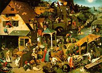 "I suppose an artist could study this Bruegel ""Proverbs"" painting without the annotations, just as a work of art. But it's cool that someone has gone to the trouble of adding many annotations of the proverbs illustrated."