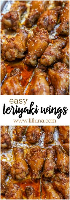 Easy Teriyaki Wings – these delicious chicken wings only take TWO ingredients! … Easy Teriyaki Wings – these delicious chicken wings only take TWO ingredients! It doesn't get any easier than that! Teriyaki Chicken Wings, Easy Baked Chicken Wings, Asian Chicken Wings, Chicken Gyros, Chicken Curry, Turkey Recipes, Chicken Recipes, Chicken Appetizers, Chicken Poppers
