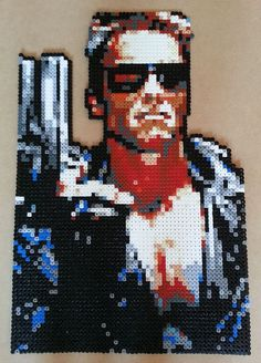 Terminator film poster hama beads by masquedemort