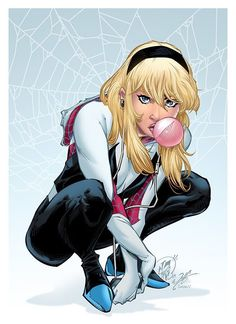 "kamisamafr: ""Spider Gwen by Daniel Campos (Pencil), Chance Wolf (Ink) & Sean Ellery (Colors) "" Comic Book Girl, Comic Books Art, Comic Art, Marvel Comics, Marvel Art, Spiderman Art, Amazing Spiderman, Arte Kombat Mortal, Les Innocents"