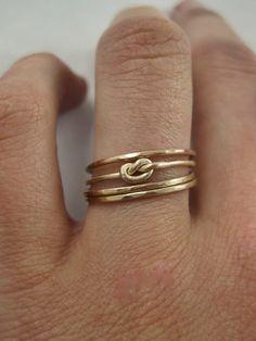 14K or quatre Infinity noeud anneau d'empilage