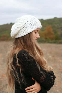 Knitted hat winter white hand knitted chunky by ThreeBirdsSitting
