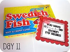 """You have o""""fish""""ally stolen my heart!    You could also use gold fish crackers."""