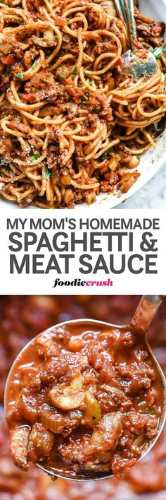 This #easy #homemade #spaghetti and #meat #sauce takes just a few minutes of prep and then a low simmer on the stove for a deep, meaty-flavored, classic spaghetti #dinner #recipe everyone will love | foodiecrush.com