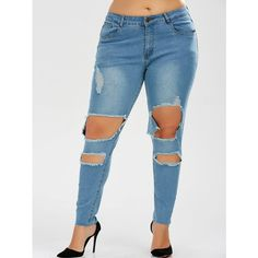 Plus Size Skinny Ripped Jeans ($24) ❤ liked on Polyvore featuring jeans, plus size ripped skinny jeans, women's plus size jeans, super skinny jeans, plus size skinny jeans and torn skinny jeans