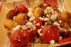 Seared tomatoes with Mediterranean flavor: feta, oregano and olives. Super yum. #fodmaps
