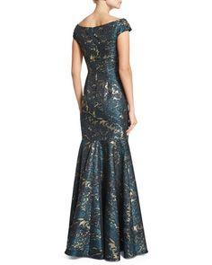 David Meister Cap-Sleeve Brocade Mermaid Gown