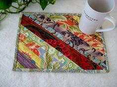 Quilted Mug Rug Snack Mat Coaster Strippy by PeppersAttic on Etsy, $10.25