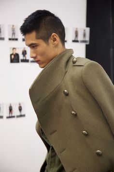 For Him: The khaki-green overcoat calls for a grand statement in the masculine wardrobe. @H&M