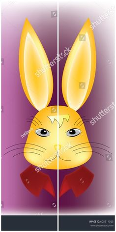 #vector #illustration #Rabbit #head, serious expression, with colorful stiff collar, on shiny purple background - useful for #easter #holiday #cards #kids #book #cartoon