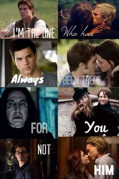 Harry potter (snape and lily) twilight (jacob and bella) hunger games (gale and katniss) shadowhunters (simon and clary)
