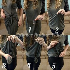 "How to make starburst knot for LuLaRoe Julia (Can also be used for Irma, Perfect, or Carly) 1. Grab a Hair tie or rubber band 2. Fold Material up so underside is showing 3. Grab underside and make a ""fabric tube"" of however much fabric you need to gather 4. Secure Fabric tube with hair tie or rubber band 5. (Optional) tuck tube into laggings, pants, or undergarments  6. (not shown as step) Pull dress down and adjust as desired! https://www.facebook.com/lularoeheatherwillett/"