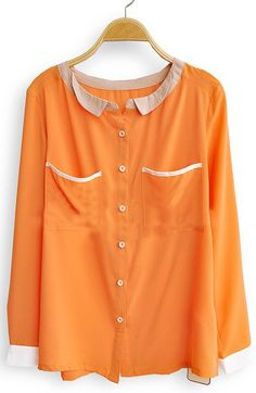 Sewing Idea - Fabric Around Neckline w/Tiny Collar & Pockets/Cuffs - www.SheInside.com - Shown: Orange Long Sleeve Contrast Trims Pockets Blouse 33.44 (Cheap! ! !)