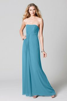 Wtoo Maids Dress 383 | Watters.com - Strapless option in Mediterranean