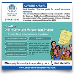 """#CurrentAffairs  Govt launches 'SHe-box' portal for  sexual harassment complaints 'SHe-box' (sexual harassment electronic box) — hosted on the website of the Women and Child Development Ministry, also seeks to ensure """"effective implementation"""" of the Sexual Harassment of Women at Workplace (Prevention, Prohibition and Redressal) Act,2013.  #TodayNews #UpscExam2017 #IASTips #CurrentNews"""