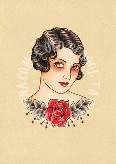 Vintage woman tattoo. Old school Tattoo by Crixtina