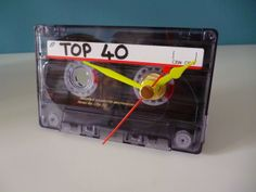 TOP 40 Retro Cassette Tape Clock Non Ticking Unique 1980s Desk Clock £8.00