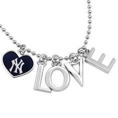 Alyssa Milano's New York Yankees Love Necklace w/ Heart Team Logo