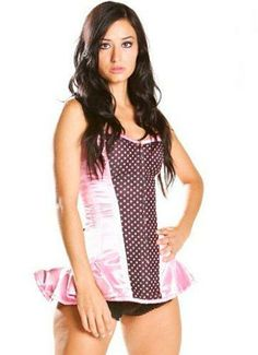 Eurotique Womens Fullbust Corset XS Black/Pink Premium Satin With Polka Dot Insert, Solid Steel Boning and Triple Layer Construction.. Long Line Corset, Better for a Long Torso.  #Eurotique #Apparel
