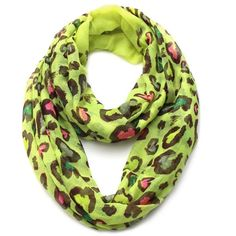Plum Feathers Leopard Print Infinity Scarf (Neon Yellow) at Amazon... ($9.99) ❤ liked on Polyvore featuring accessories, scarves, leopard circle scarf, leopard infinity scarf, round scarf, leopard print infinity scarves and leopard shawl