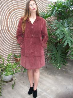 Vintage 60's Mod Suede Coat Burgundy Top Stiching Coat by SewLoca, $65.00