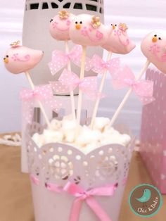 Pink cake pops at a bird baptism party! See more party planning ideas at CatchMyParty.com!