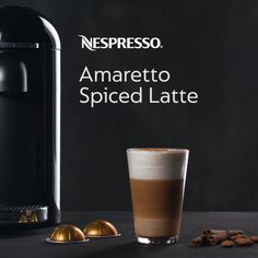 Discover an authentic Italian latte without leaving the comfort of home. Click the pin & try a new Nespresso recipe today. Nespresso Amaretto Spiced Latte Add 3⁄4 oz amaretto syrup to glass Froth 6 oz milk until hot & foamy; pour into glass Add 1 tbsp cinnamon topping and stir Brew two shots of espresso (Voltesso or Volluto) into glass Sprinkle cinnamon sugar onto latte Stir & enjoy!