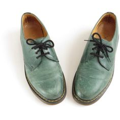 Jade Green Dr Martens Oxford Shoe Doc Martens Shoes Creepers 90s... ($142) ❤ liked on Polyvore featuring shoes, oxfords, dr. martens, creeper shoes, grunge shoes, green shoes and oxford shoes