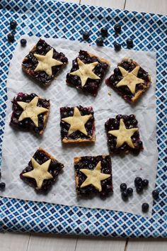 Star Spangled Blueberry Pie Bars - A shortbread-type cookie crust serves as the base and topping, and a simple blueberry filing comes together in just a couple minutes.