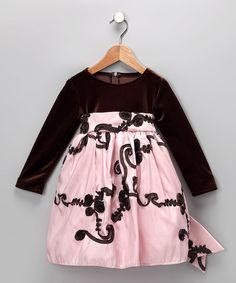 Take a look at this Pink & Brown Ribbon Dress - Toddler & Girls on zulily today!
