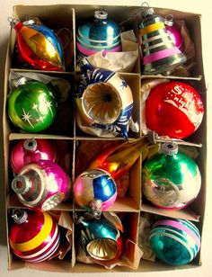 Love Vintage Christmas Ornaments I remember going to visit my Nan in the 60's and she had a box just like these.