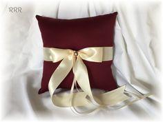Burgundy Wedding Ring Bearer Pillow Wine Wedding Ring by RammaRuRu