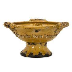 Old World Tuscan Distressed Italian Design Rustic Ceramic Decorative Bowl