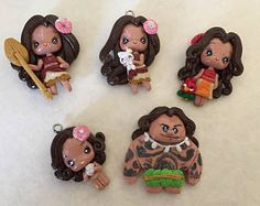 Moana Polymer clay - pendant- scrapbooking- polymer clay- princesses clay- bow embellishment