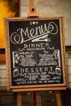 Hand drawn wedding menu on chalkboard.