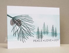 CAS248 In the Pines by naturecoastcrafter - Cards and Paper Crafts at Splitcoaststampers ~ Stamps: Impress Rubber stamps, Stampscapes, PTI Stylish Sentiments: Holiday ~ Paper: white ~ Ink: blue bayou, hunter green, choc. chip ~ Techniques: Sponging, masking