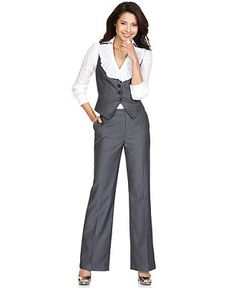 I love this!  I used to go to thrift stores and buy men's 3-piece suits.  I love the matching vest and pants with a feminine flair!  Business fashion idea #1