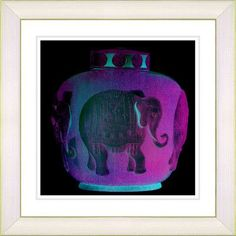 """Studio Works Modern """"Purple Elephant Urn"""" by Zhee Singer Framed Graphic Art in Pink Frame Color: Creamy White, Size: 22"""" H x 22"""" W x 1"""" D"""