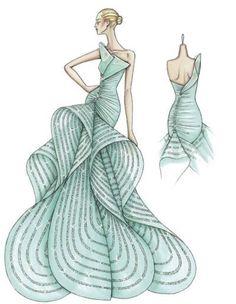 dress sketch. versace, evening dresses, fashion sketches, red carpets, the dress, fashion designers, blues, fashion illustrations, atelier