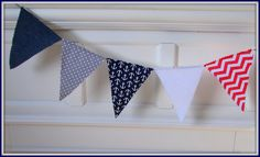 Nautical Bunting, Anchor Banner, Blue & Red Bunting, Nautical Banner, Nautical Triangle Banner, Nautical Party, Nautical Nursery, Anchor by SamsSweetArt on Etsy