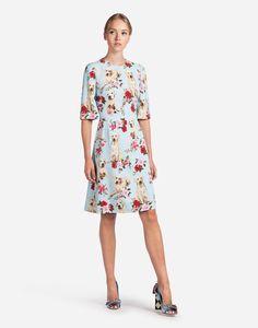 DOLCE & GABBANA Printed Cady Dress. #dolcegabbana #bags #rayon #silk #