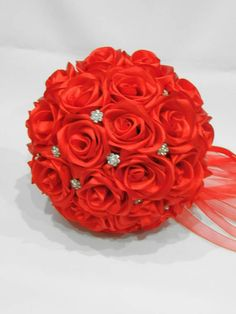 Bridal Bouquet Red Roses Artificial Wedding Bouquet Red