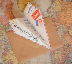 Vintage Airmail Save the Date Airplane
