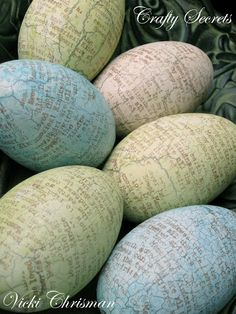 decorating plastic..wooden eggs with  print..paint <3