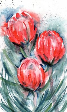 Stunning original artwork of proteas, inspired by my upbringing in South Africa. This abstract version of the flowers is just so beautiful that Im sure it'll grab anyones attention. Roughly, 10 x 16 inches. Painted on 300gsm cold pressed, gummed watercolour paper. Signed by the artist.