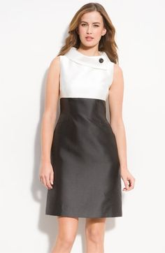 Tahari by Arthur S. Levine Button Neck Two Tone Dress | Nordstrom - StyleSays