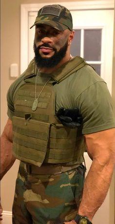 Fine Black Men, Gorgeous Black Men, Handsome Black Men, Black Man, Beautiful Men, Hot Army Men, Sexy Military Men, Black Men Beards, Hot Cops