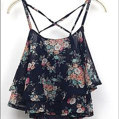 Spaghetti Strap Floral Print Chiffon Crop Top Spaghetti Strap Floral Print Chiffon Cropped Top with X strap back! Absolutely adorable! Black background! Boutique Tops Tank Tops