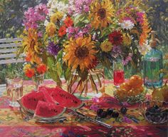 """©  Copyright  Barbara Jaskiewicz, """"Colors of Provence"""", palette knife oil on linen, size23.6x28.7 in."""